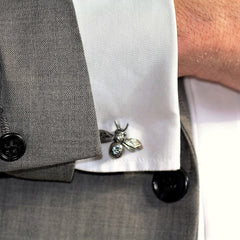 Handmade Sterling Silver and Mandarin Citrine Bumblebee Cufflinks, Pretty Wild Jewellery Alternate View