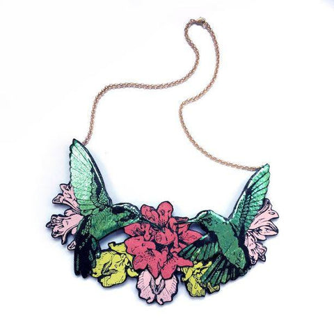 Double Hummingbird Necklace, Rosita Bonita - CultureLabel - 1