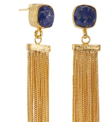 Lapis and Gold Plated Tassel Earrings, The National Gallery Alternate View