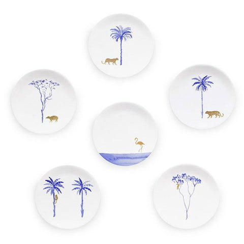 Blue Jungle Set of 6, Mira Santo