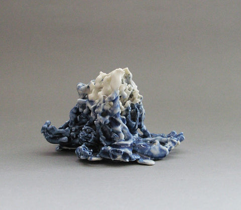 Cobalt Blue and White Porcelain Stem Holder, Rosa Nguyen