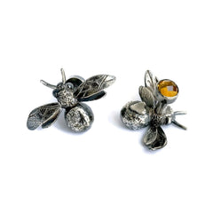 Handmade Sterling Silver and Mandarin Citrine Bumblebee Cufflinks, Pretty Wild Jewellery