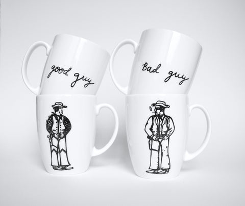 Bad Guy. Good Guy Mugs Set, Janet Milner - CultureLabel