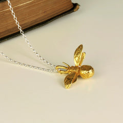 Handmade 18ct Yellow Gold Vermeil Bumblebee Necklace, Pretty Wild Jewellery