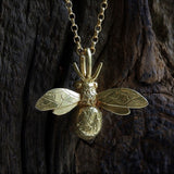 Handmade 18ct Yellow Gold Vermeil Bumblebee Necklace, Pretty Wild Jewellery - CultureLabel - 2