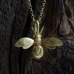 Handmade 18ct Yellow Gold Vermeil Bumblebee Necklace, Pretty Wild Jewellery Alternate View