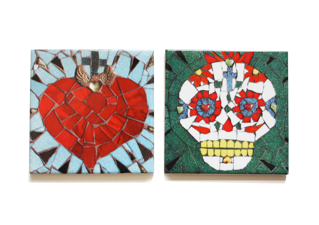 Candy Skull and Sacred Heart Coaster Set, Juan is Dead - CultureLabel - 1