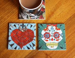 Candy Skull and Sacred Heart Coaster Set, Juan is Dead Alternate View