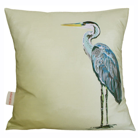 (full view of cushion) Lemon Heron Charity Cushion, Chloe Croft - CultureLabel - 1