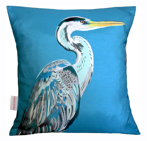 (full view) Blue Heron Charity Silk Cushion, Chloe Croft - CultureLabel - 1