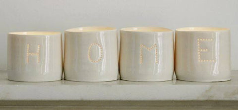 Home Letter Minis Tealight Holder Set, Luna Lighting