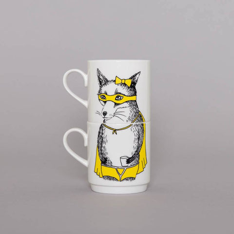Bandit Fox Stackable Tea Mugs, Jimbobart