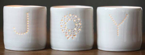 Joy Letter Minis Tealight Holder Set, Luna Lighting