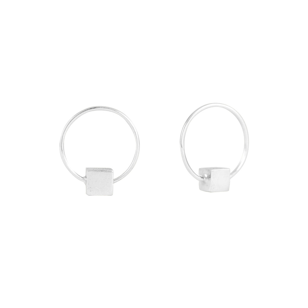 Cube & Hoop Earrings Silver, Lee Renée - CultureLabel - 1