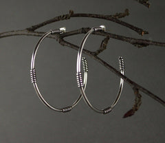 Silver Wrap Hoop Earrings, Marcia Vidal Alternate View