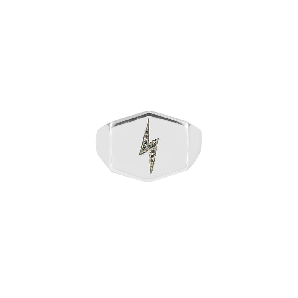 Lightning Bolt Shield Signet Ring, No 13 - CultureLabel - 1