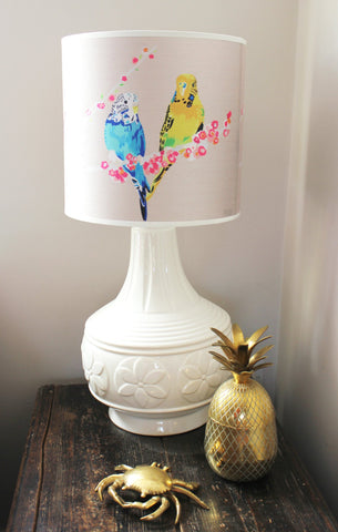 Loving Budgies Lampshade, Chloe Croft Alternate View