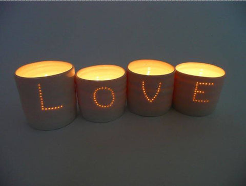 Love Letter Minis Tealight Holder Set, Luna Lighting