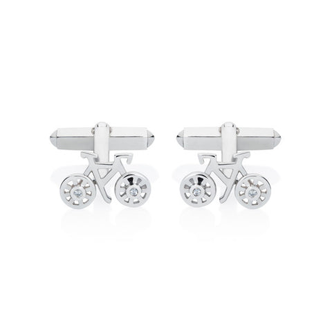 Bike Cufflinks - Silver & White Sapphires, Lee Renée - CultureLabel