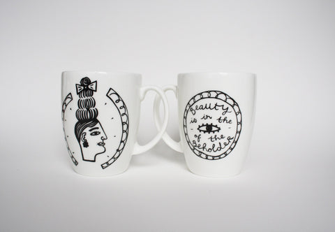 Miss Big Hair Mugs Set of Two, Janet Milner