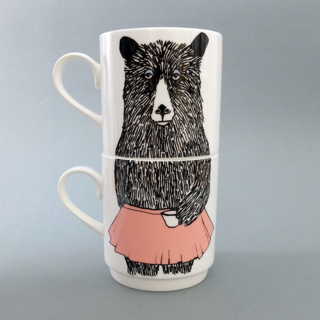 Mrs Bear Stackable Tea Mugs, Jimbobart - CultureLabel