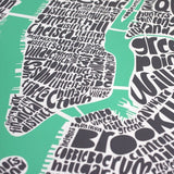 Map of NYC - pastel green, Ursula Hitz - CultureLabel - 2 (crop- close up of river fork)