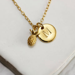Mini Pineapple & Initial Necklace, Lee Renee Alternate View