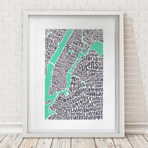Map of NYC - pastel green, Ursula Hitz