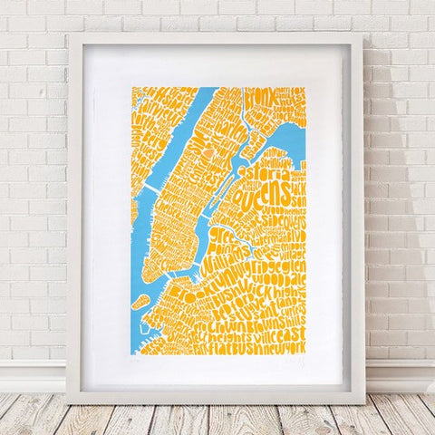 Map of NYC - yellow/sky blue, Ursula Hitz - CultureLabel - 1 (framed)
