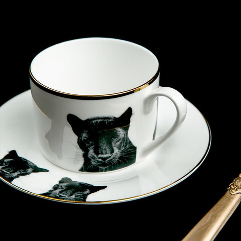 Peering Panther Teacup and Saucer, Abi Overland Jersey Alternate View