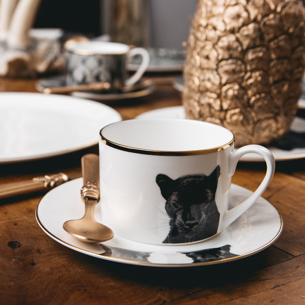 Peering Panther Teacup and Saucer, Abi Overland Jersey - CultureLabel - 1