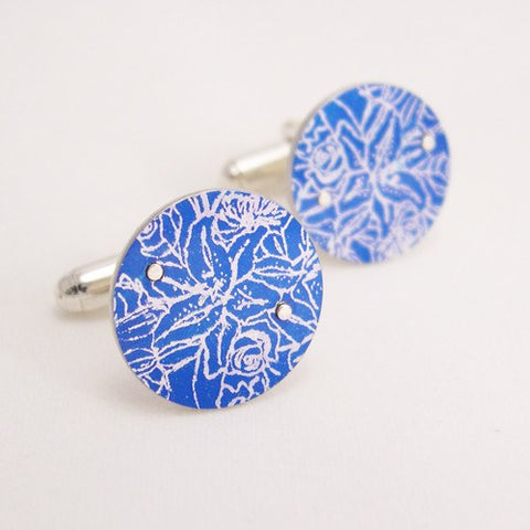 Blue Tigerlilies Cufflinks, Sally Lees