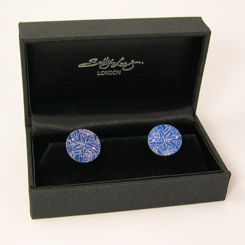 Blue Tigerlilies Cufflinks, Sally Lees Alternate View