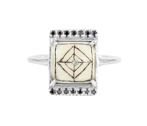 Sami Black Diamond Rectangle Ring, No 13