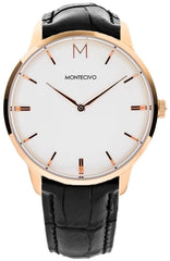 Signature Black Leather Watch, Montecivo Watches