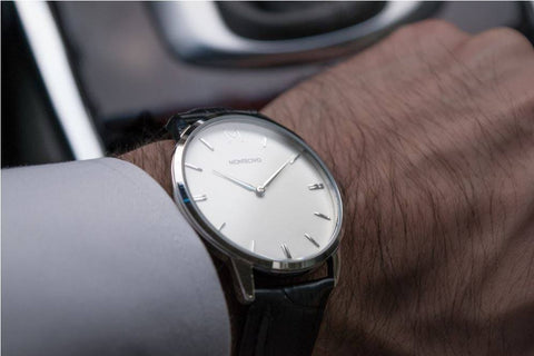 Classic Black Leather Watch, Montecivo Watches