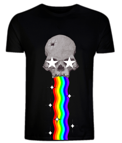 CultureLabel Collective: Trepanned Skull (Rainbow) T-Shirt (Black)