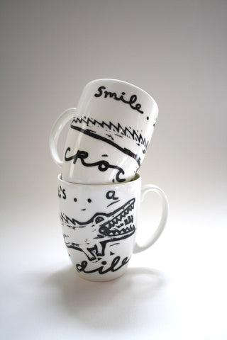 Smile It's A Crocodile Mugs Set, Janet Milner - CultureLabel