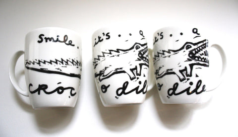Smile It's A Crocodile Mugs Set, Janet Milner Alternate View