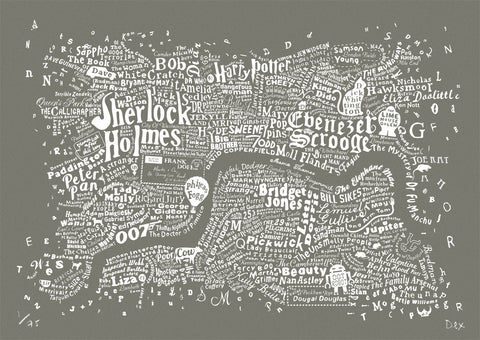 Literary Central London (Smoke Grey), Run For The Hills - CultureLabel