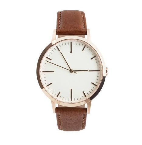 40 Edition - Rose Gold & Tan Mens Watch, Freedom To Exist