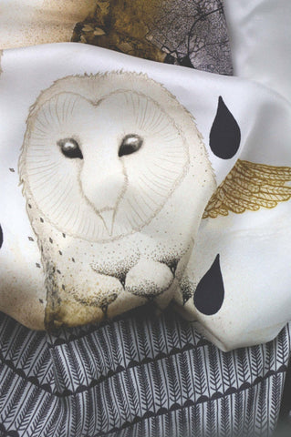 Winter Owl Grand Silk Scarf, Little Wolf