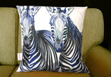 Zebra Portraits Cushion, Chloe Croft - CultureLabel - 2 (cushion on sofa)