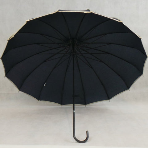 Various Colours Ladies Umbrella Fashion Brolly Pagoda Shape Canopy with Trim