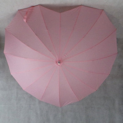 Ladies Umbrella Heart Shape Soft Pink