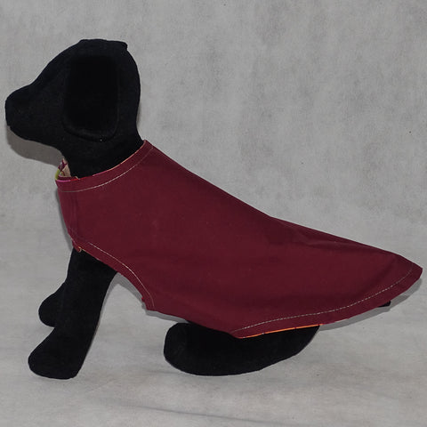 Dog Reversible Coat Burgandy and Lotus Print