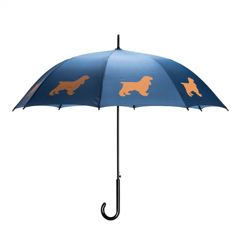 San Francisco Umbrella Company Cocker Spaniel Beige on Navy