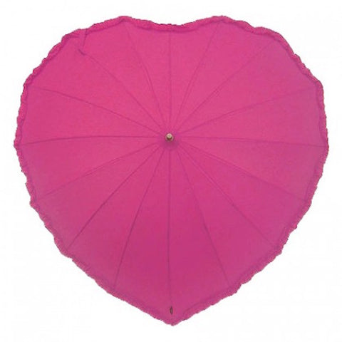 Ladies Umbrella Heart Shape Frill Hot Pink