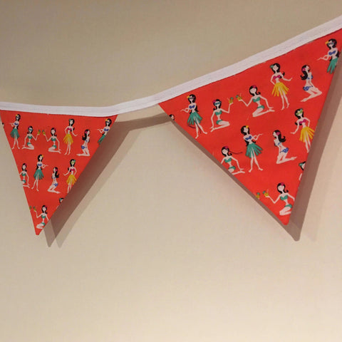 Beautiful Bunting Hula Girl Print
