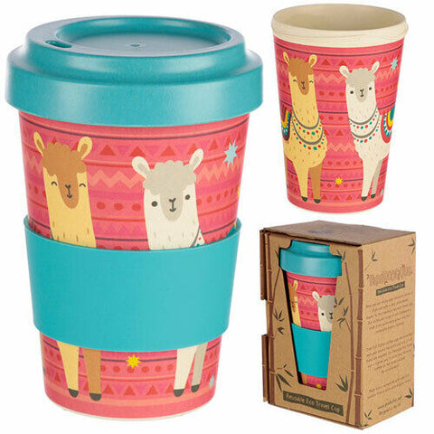 Eco Friendly Bamboo Travel Cup LLama Design